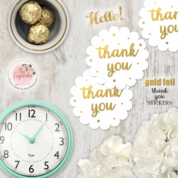 Scalloped Thank you Foil Stickers