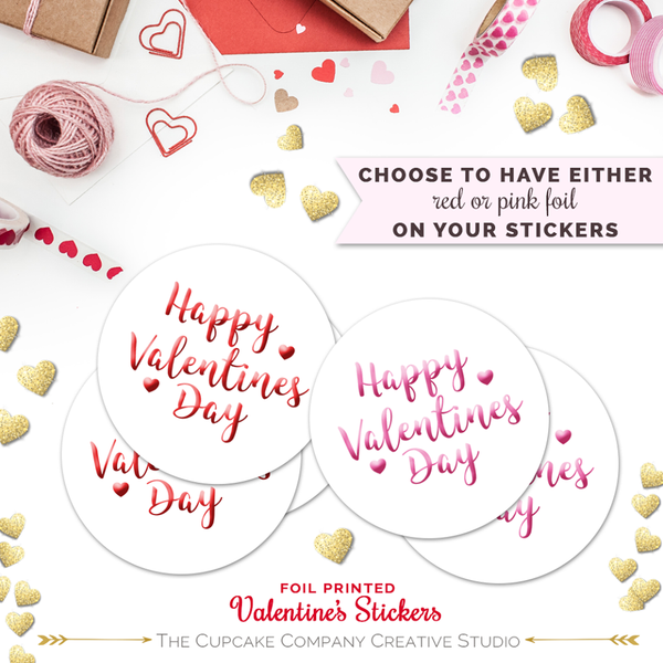 Foil Happy Valentine Stickers