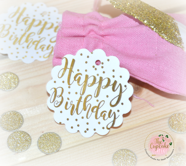 Foil Happy Birthday Scalloped Tags