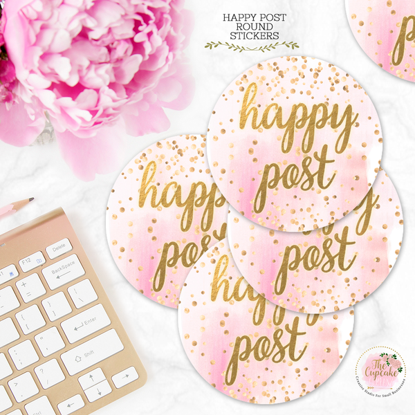 Pink Watercolor Happy Post Stickers