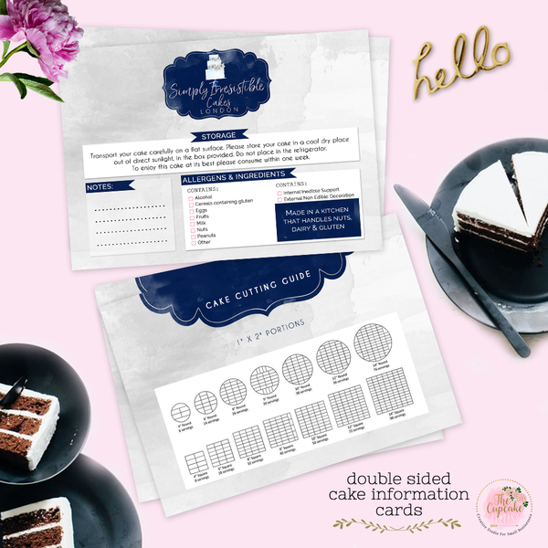 Bespoke Cake Information Card Design (Not Printed Design Only)