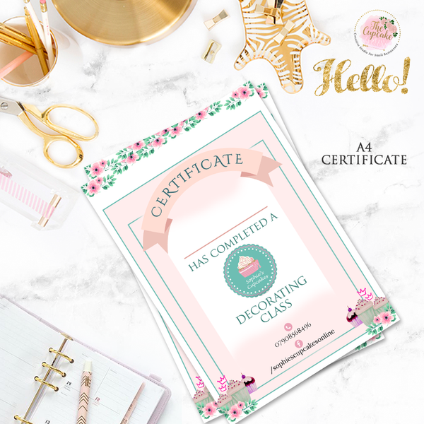 Cupcake Class Certificate Design & Print Package