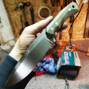 Custom hunting knife, with hunters green canvas micarta, made in denmark, hvedegaard knives
