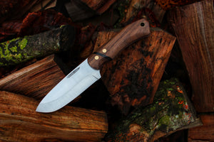 Bushcrafter, walnut wood, rwl34 steel, made in Denmark, Hvedegaard Knives