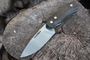 Handmade hunting knife, made in rwl34 steel and bog oak, hvedegaard knives