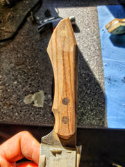 Stabilized zebrano wood on a very special knife I am making.