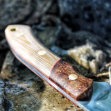 One of a kind hunting knife - Coyote canvas micarta and stabilized elm burl with a leather sheath