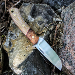 One of hunting knife - Special blade shape - Coyote canvas micarta and stabilized elm burl