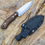 Handmade bushcraft knife, made for the outdoor. Made by hand in Denmark by Mikkel Hvedegaard. This knife is pictured with its sheath made in kydex.