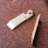 Two mini pocket prybars crwobars, screw driver, bottle opener, and hole for keyring. Made by hand by Danish Knifemaker Mikkel Hvedegaard, Hvedegaard Knives