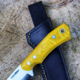 Bushcrafter v1 w/ yellow micarta and black leather sheath