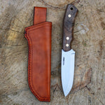 Bushcrafter v1 w/ beautiful Tyrkish walnut handle and leather sheath
