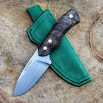 Hunting knife JGT II hvedegaard knives, made in rwl34 stainless steel, stabilized maple burl, green leather sheath. Made in denmark, by the young knifemaker mikkel hvedegaard