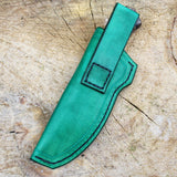 Green leather sheath for a matching hunting knife