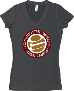 CSU-Global Logo V-Neck Tee