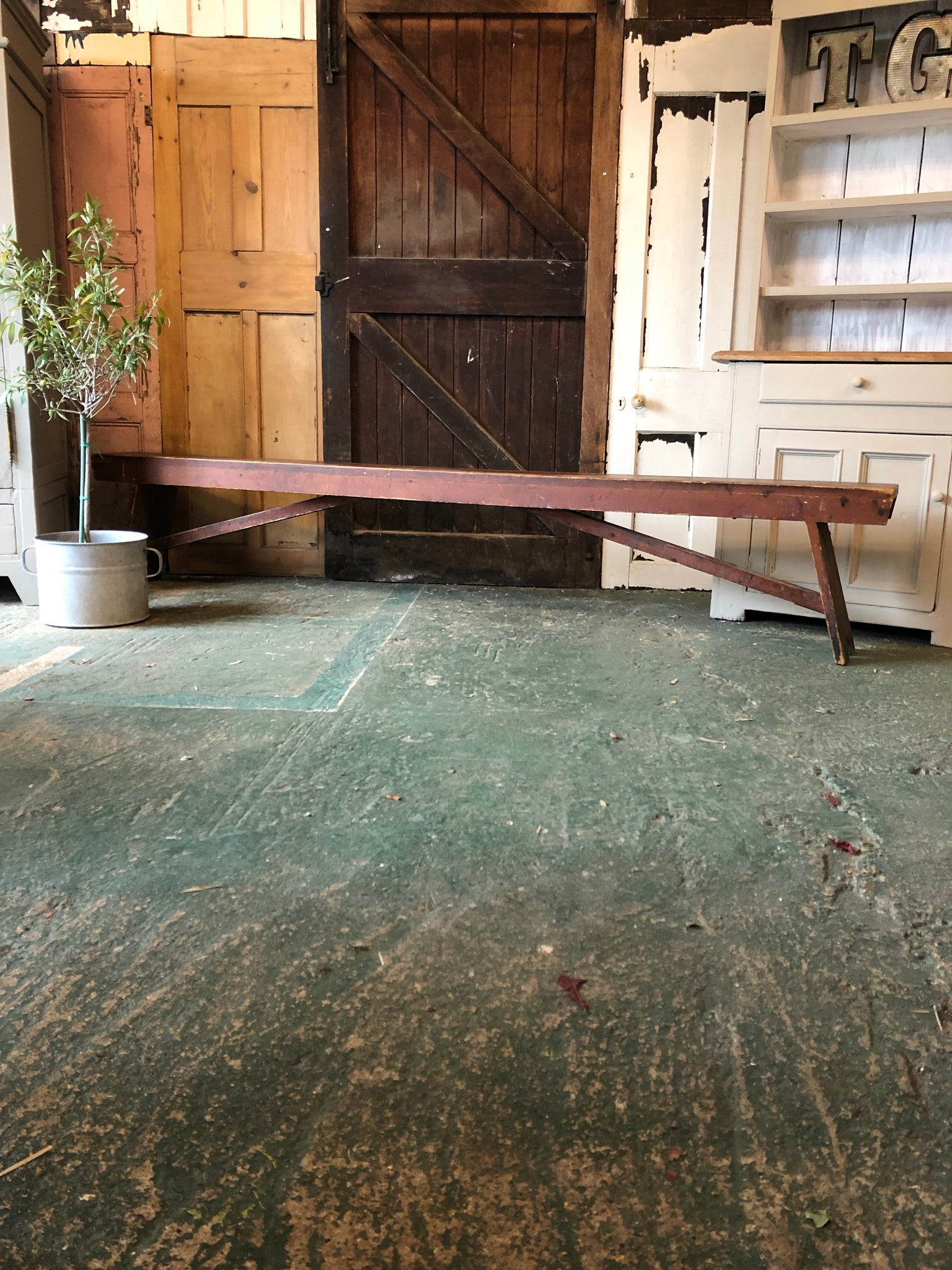 Vintage Rustic Old School Bench (One of a Pair)