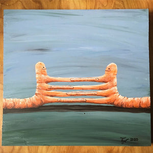 Worm Transfer or Pleased To Meet You - original artwork - acrylic painting on wood block