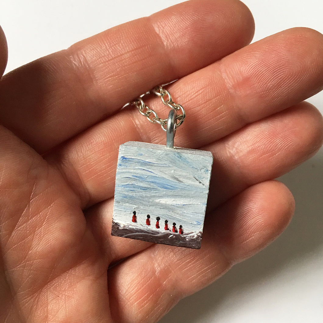 Five Travelers in Red - Charm Painting - Tiny Art or Necklace