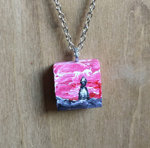 Solo Charm Necklace - Red Sky, Black Ground, White Cloak and Hat