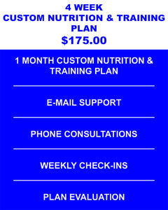 4 Week Custom Nutrition & Training Plan