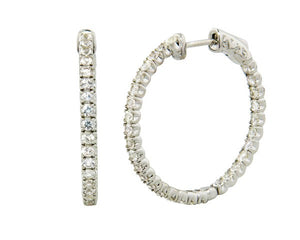 White Sapphire Hoop Earrings