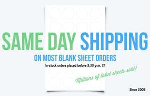 Same Day Shipping Blank Label Sheets