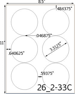 3 1/3 Diameter Round Water-Resistant Silver Polyester Laser Label Sheet
