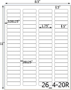 1 3/4 x 1/2 Rectangle Water-Resistant Silver Polyester Laser Label Sheet