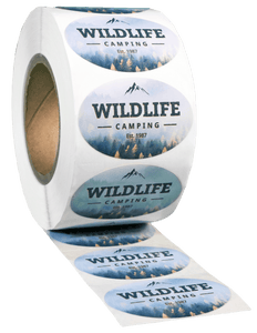 Oval White High Gloss Roll Label - Custom Printed