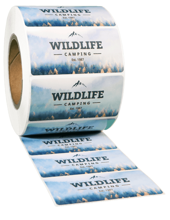 Rectangle White High Gloss Roll Label - Custom Printed