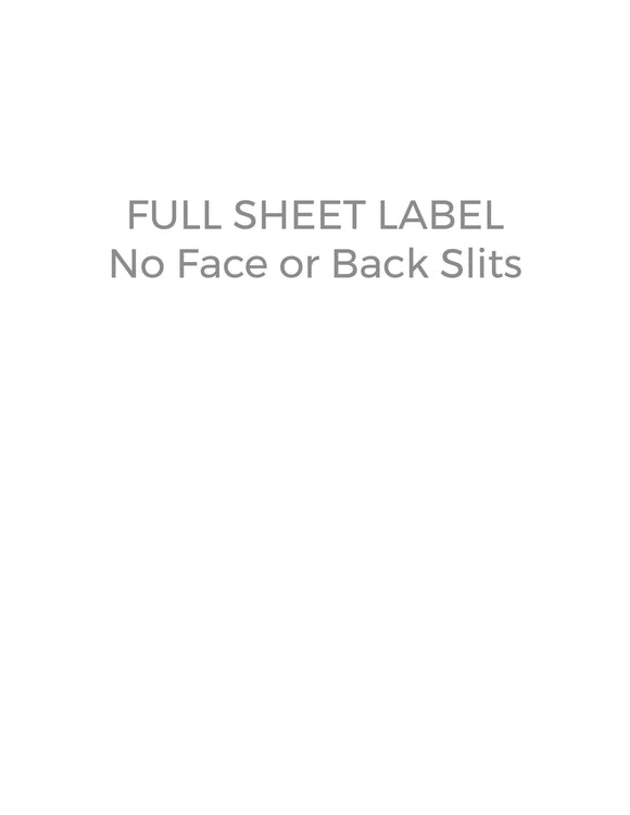 8 1/2 x 11 Rectangle Water-Resistant Silver Polyester Laser Label Sheet (no slit face or back)