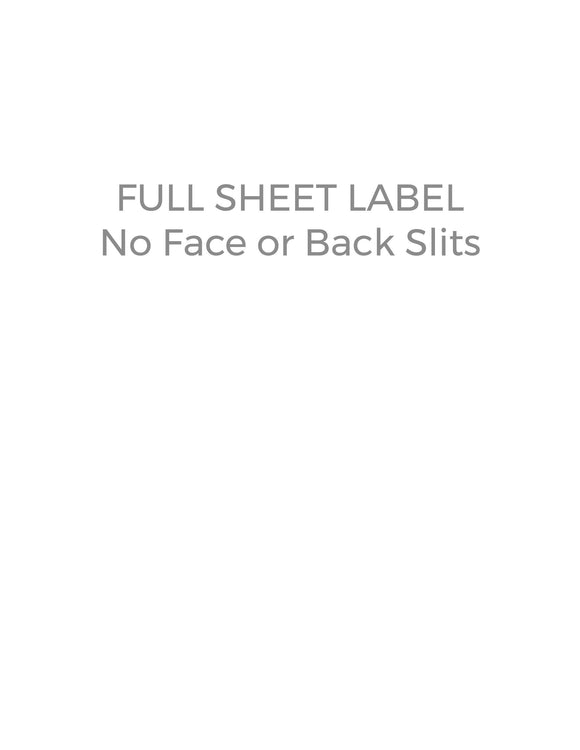 8 1/2 x 11 Rectangle Removable White Printed Label Sheet (no slit face or back)