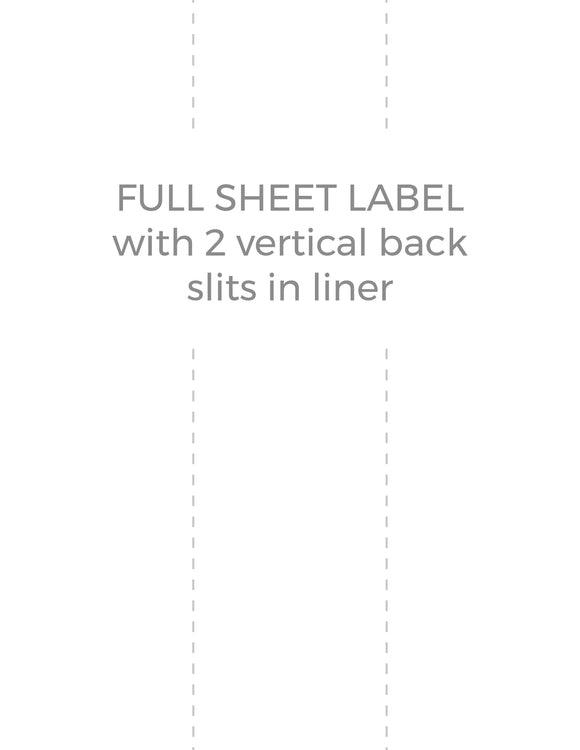 8 1/2 x 11 Rectangle White Label Sheet (w/ 2 vert back slits)