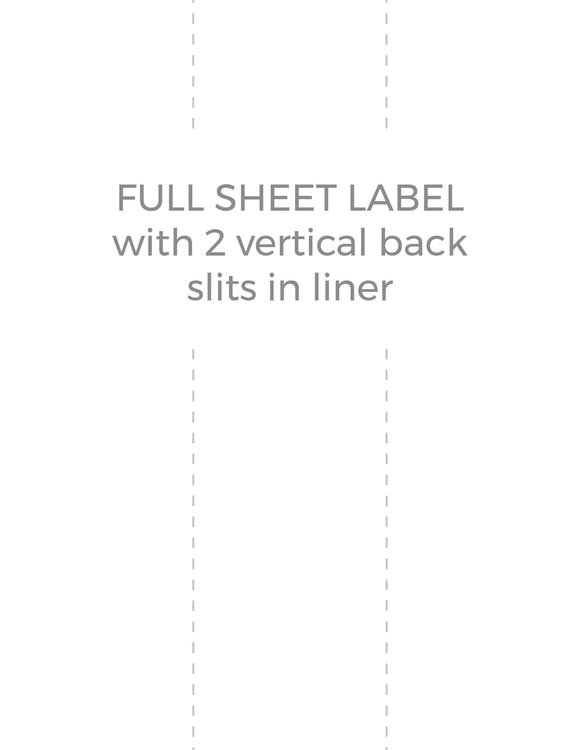 8 1/2 x 11 Rectangle Removable White Printed Label Sheet (w/ 2 vert back slits)