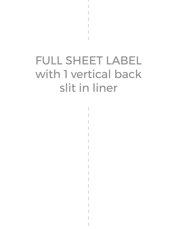 8 1/2 x 11 Rectangle White High Gloss Laser Label Sheet (w/ 1 vert back slit)
