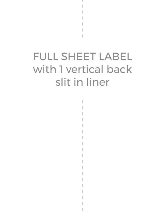 8 1/2 x 11 Rectangle Fluorescent ORANGE Label Sheet (Bulk Pack 500 Sheets) (w/ 1 vert back slit)