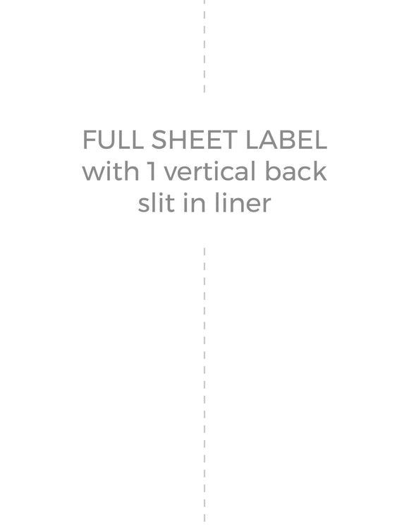 8 1/2 x 11 Rectangle Removable White Printed Label Sheet (w/ 1 vert back slit)