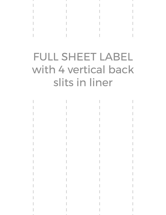8 1/2 x 11 Rectangle White Label Sheet (w/ 4 vert back slits)