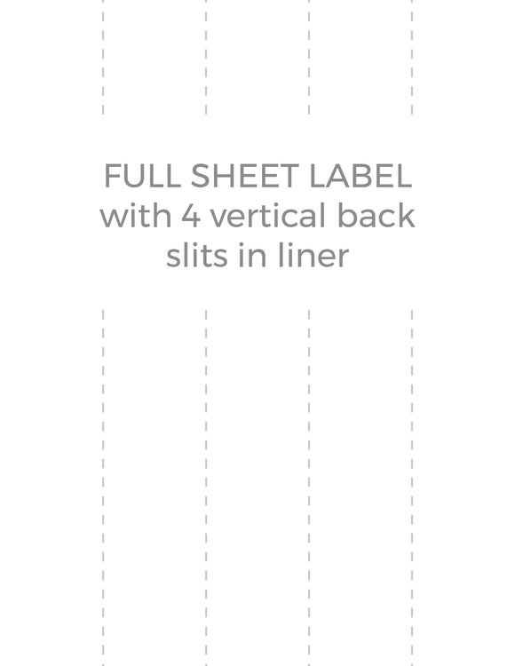 8 1/2 x 11 Rectangle White High Gloss Printed Label Sheet (w/ 4 vert back slits)