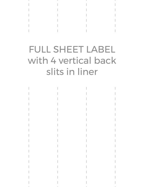 8 1/2 x 11 Rectangle PREMIUM Water-Resistant White Inkjet Label Sheets (Pack of 250) (w/ 4 vert back slits)