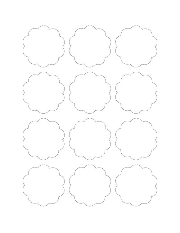 2 Diameter Scallop Shape Hang Tag Sheet (Die-Cut White Cardstock)