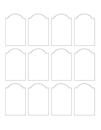 1.75 x 2.75 Dome Top Rectangle Hang Tag Sheet (Die-Cut White Cardstock)