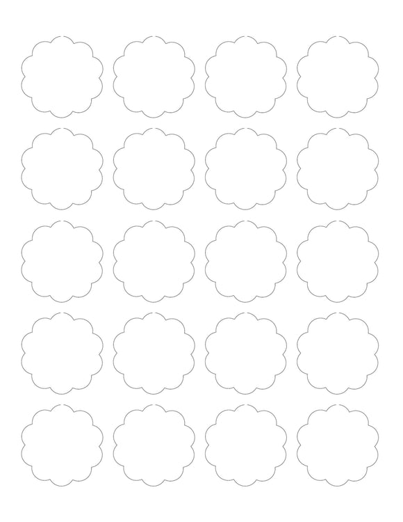 1.75 Diameter Scallop Shape Hang Tag Sheet (Die-Cut White Cardstock)