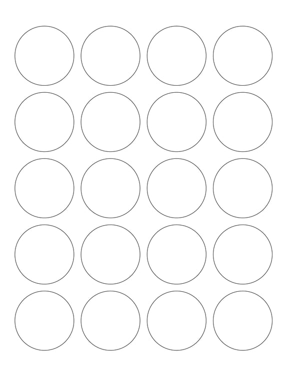 1.75 Diameter Round Hang Tag Sheet (Die-Cut White Cardstock)
