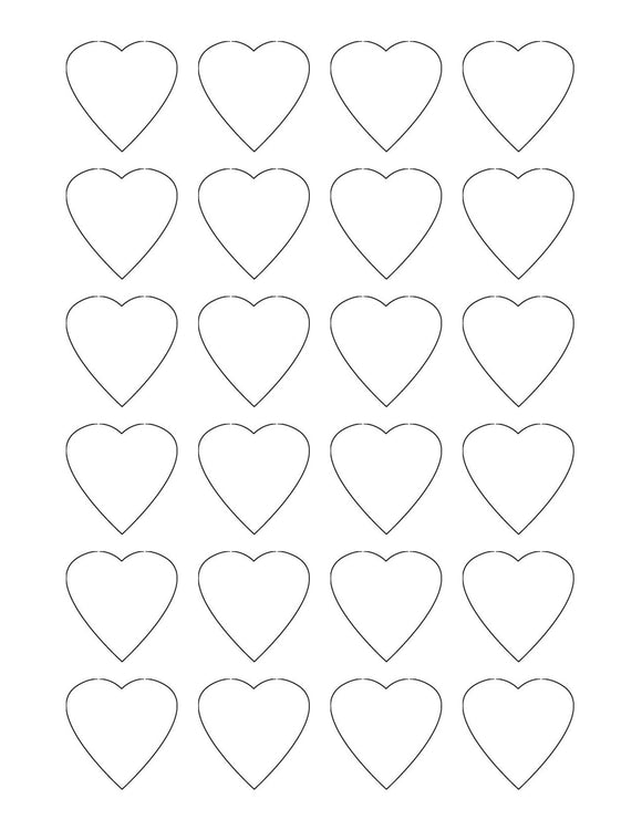 1.5 x 1.5 Heart Shaped Hang Tag Sheet (Die-Cut White Cardstock)