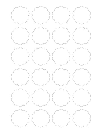 1.5 Diameter Scallop Shape Hang Tag Sheet (Die-Cut White Cardstock)