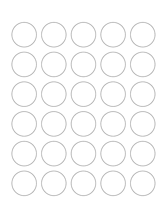 1.25 Diameter Round Hang Tag Sheet (Die-Cut White Cardstock)