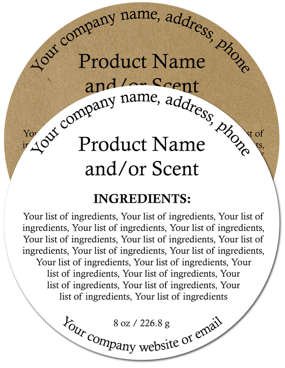 Ingredient Label #1 - Round