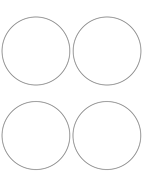4 Diameter Round White Label Sheet
