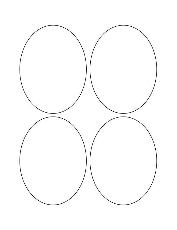 3 1/4 x 4 1/4 Oval Natural Ivory Label Sheet